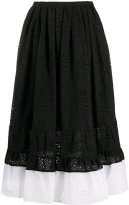 No.21 Two-Tone Embroidered Mid Skirt