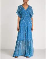 BA&SH Mela metallic-embroidered silk-chiffon maxi dress