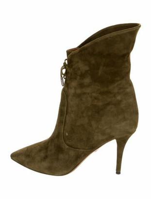 Aquazzura Suede Lace-Up Boots Green