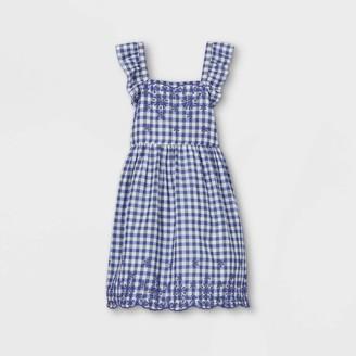 Cat & Jack Girls' Short Flutter Sleeve Gingham Woven Dress - Cat & JackTM