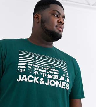 Jack and Jones Originals mountain print logo t-shirt in green