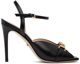 Gucci Black Sylvie Chain Slingback Heels