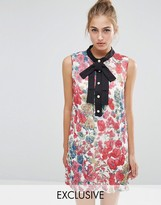 Sister Jane Petunia Floral Shift Dress With Tie Neck Detail