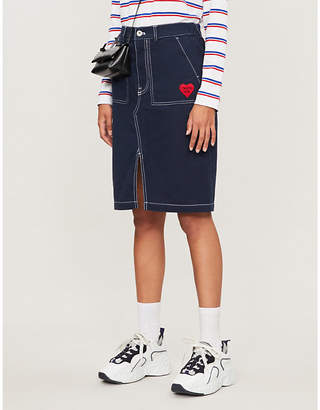 Selfridges Chocoolate High-waist brand-embroidered denim midi skirt