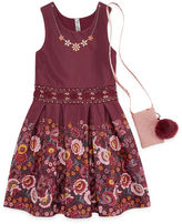 Knitworks Knit Works Floral Border Sleeveless Skater Dress w/ Purse - Girls' 7-16