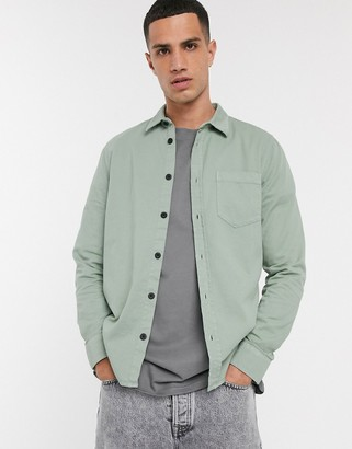 Nudie Jeans Henry one pocket shirt in pale green