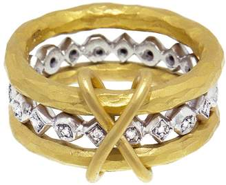 Cathy Waterman Bead and Diamond XO Triple Band Ring