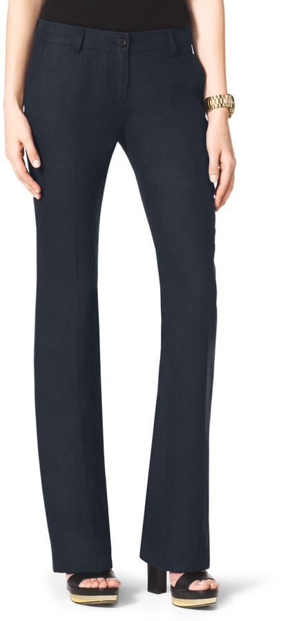 Michael Kors Linen Boot-Cut Trousers