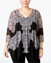 INC International Concepts Plus Size Lace Handkerchief-Hem Top, Only at Macy's