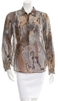 L'Agence Snake Print Button-Up Top