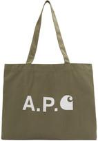 A.P.C. Khaki Carhartt WIP Edition Logo Shopping Tote