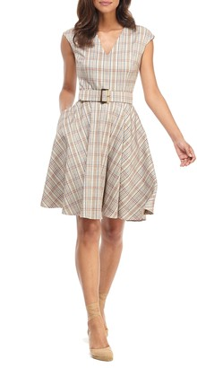 Gal Meets Glam Kelly Plaid Belted Fit & Flare Dress