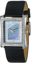 Burgi Women's BUR088BK Swiss Quartz Crystal Mother-of-Pearl Black Leather Strap Watch