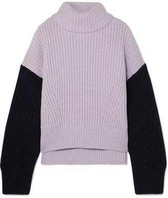 Ninety Percent Two-tone Ribbed Organic Merino Wool Turtleneck Sweater - Lilac
