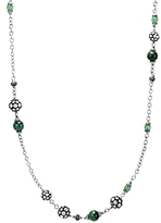 John Hardy Sterling Silver Dot Station Necklace with Tsavorite, Malachite and Green Onyx, 36