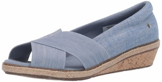 Grasshoppers Women's Peach Open Toe Chambray Slip-On