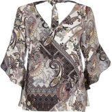 River Island Womens Brown paisley ruffle sleeve tie back top