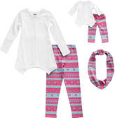 Dollie & Me Pink & Blue Stripe Leggings Set & Doll Outfit - Girls