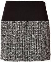 Bouchra Jarrar Wool-Cotton Skirt with Tweed Panel