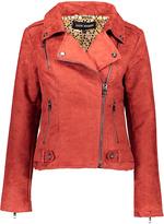 Steve Madden Red Asymmetrical-Zip Jacket