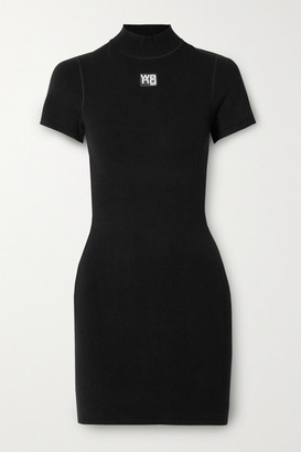 alexanderwang.t Appliqued Stretch-knit Mini Dress - Black