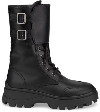Miu Miu Lug-Sole Leather Combat Boots