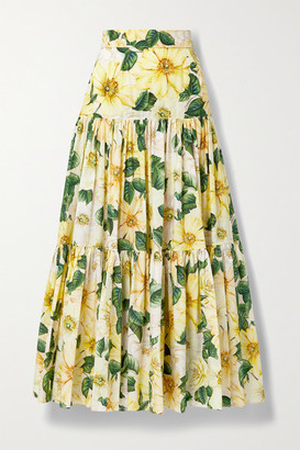 Dolce & Gabbana Tiered Floral-print Cotton-poplin Maxi Skirt - Yellow