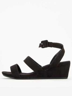 Very Gina Ankle Strap Mini Wedge Flexible Sandal - Black