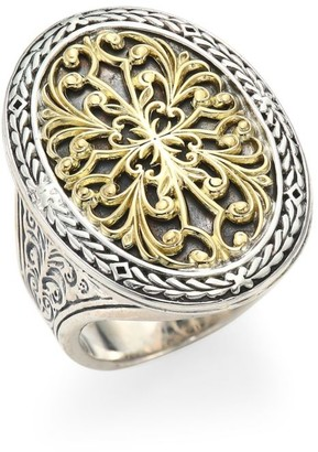 Konstantino Gold Classics Sterling Silver & 18K Yellow Gold Oval Filigree Ring