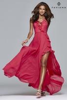 Faviana 7939 Long halter dress with layered ruffle detail