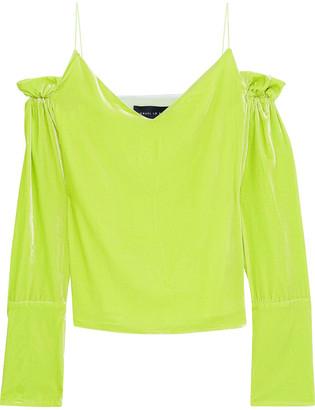 Michael Lo Sordo Cold-shoulder Ruffle-trimmed Neon Velvet Top
