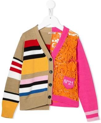 No.21 Kids asymmetric striped cardigan
