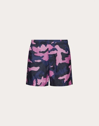Valentino Camouflage Bathing Suit Man Navy Camo/pink Polyamide 100% 44