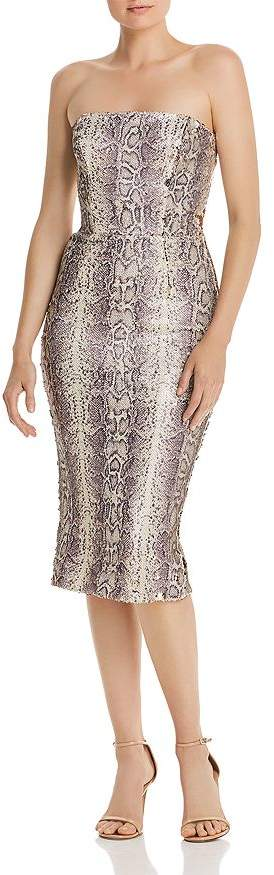 Dress the Population Strapless Sequin Snake-Print Midi Dress