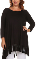 Canari Black Fringe-Trim Swing Tunic - Plus
