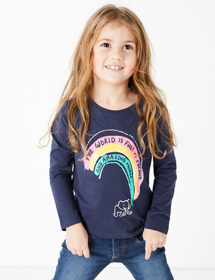 Marks and Spencer Cotton Rainbow Print Top (2-7 Years)