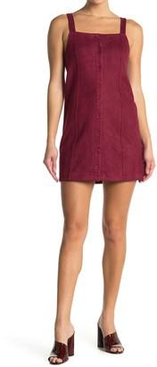 BB Dakota Faux Suede Button Front Mini Dress