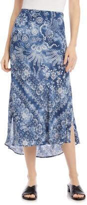 Karen Kane Scarf Print Satin Skirt