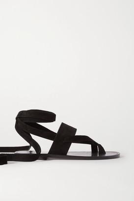 Saint Laurent Culver Nu Pieds Suede Sandals - Black