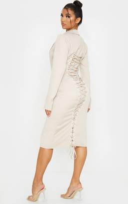 PrettyLittleThing Nude Long Sleeve Lace Up Back Detail Midi Blazer Dress