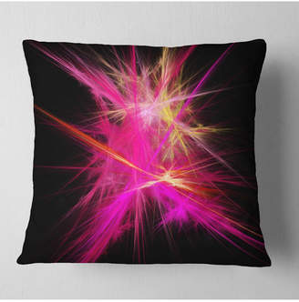 """Chaos Designart Pink Fractal Multicolored Rays Abstract Throw Pillow - 16"""" X 16"""""""