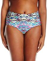 Kenneth Cole Reaction Women's Plus Size Printed Ruched Bikini Bottoms