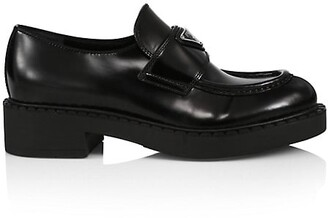 Prada Logo Leather Loafers