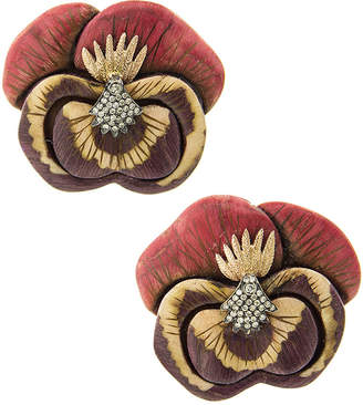 Silvia Furmanovich 18k Sculptural Botanical Marquetry Small Pansy Earrings