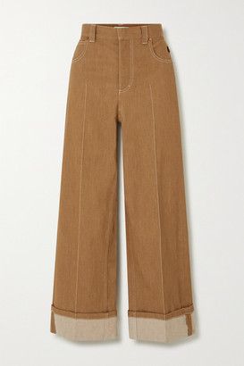 Chloé Topstitched Wide-leg Jeans - Brown
