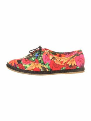 Charlotte Olympia Floral Print Sneakers Red