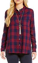 Gibson & Latimer Buffalo Plaid V-Neck Long Sleeve Tunic