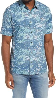 Travis Mathew Katmai Slim Fit Tropical Print Short Sleeve Button-Up Shirt