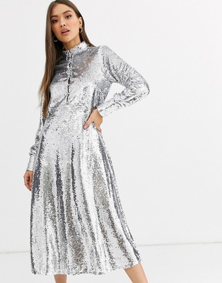 Neon Rose midi shirt dress with full skirt in sequin