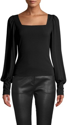Nicole Miller Stretchy Matte Jersey Square Neck Blouse